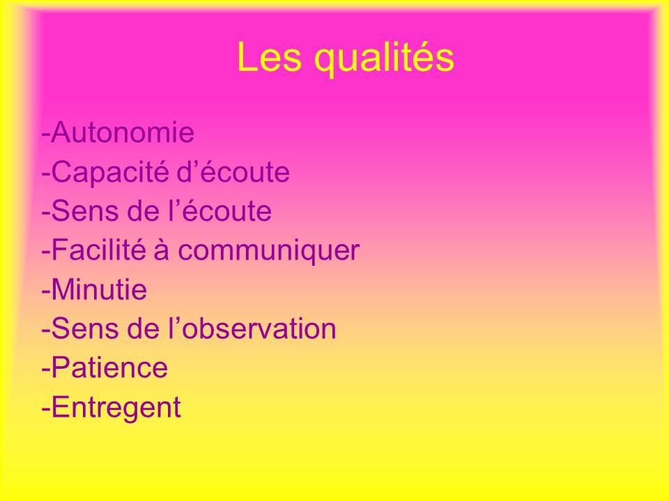 Les qualités -Autonomie -Capacité d'écoute -Sens de l'écoute