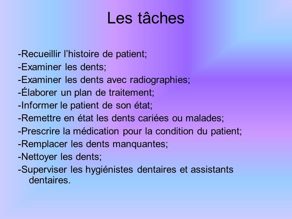 Les tâches -Recueillir l'histoire de patient; -Examiner les dents;