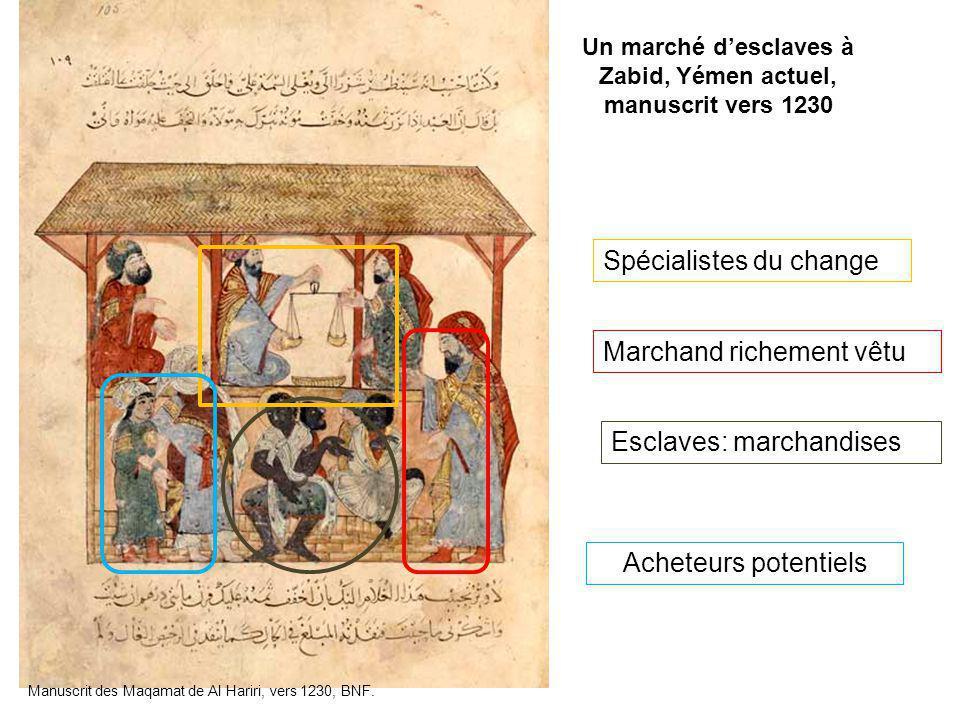 Un marché d'esclaves à Zabid, Yémen actuel, manuscrit vers 1230