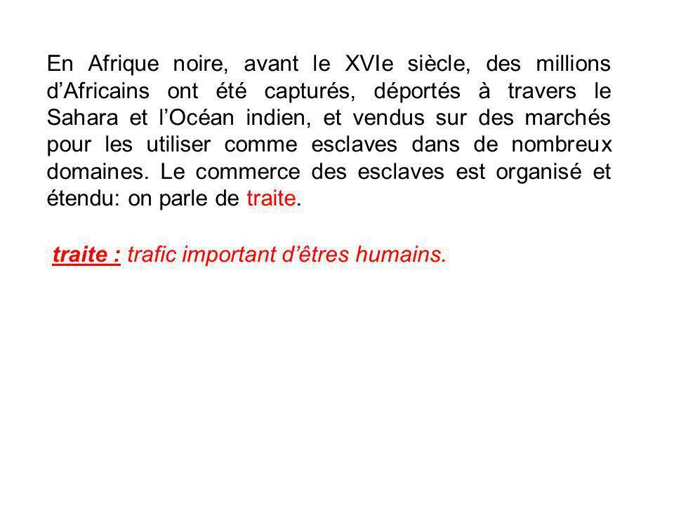En Afrique noire, avant le XVIe siècle, des millions d'Africains ont été capturés, déportés à travers le Sahara et l'Océan indien, et vendus sur des marchés pour les utiliser comme esclaves dans de nombreux domaines. Le commerce des esclaves est organisé et étendu: on parle de traite.