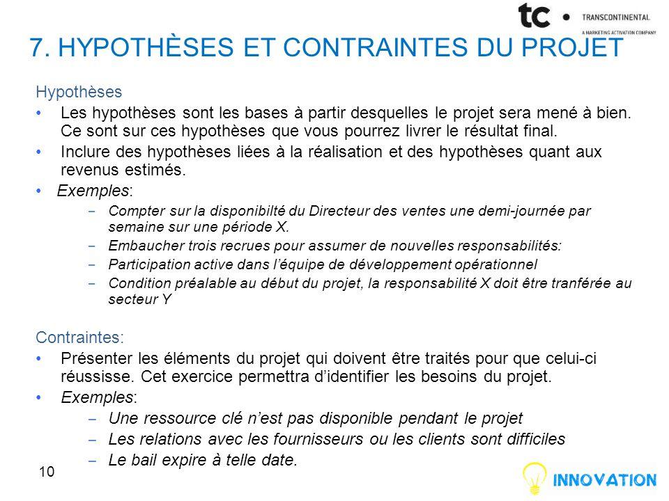 7. Hypothèses et contraintes du projet