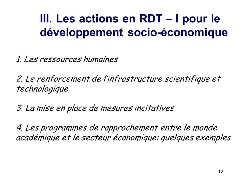 III. Les actions en RDT – I pour le développement socio-économique