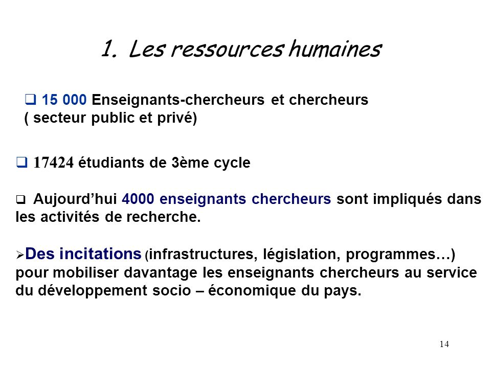 1. Les ressources humaines