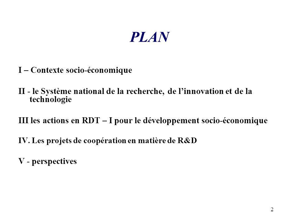 PLAN I – Contexte socio-économique