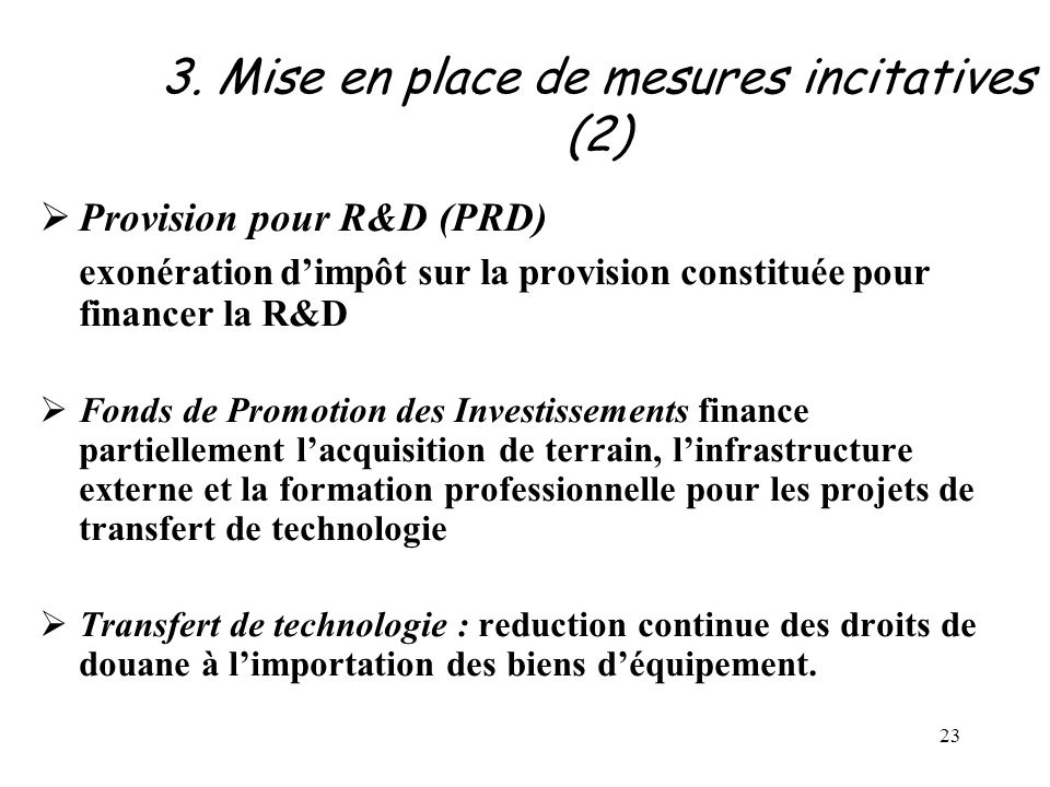 3. Mise en place de mesures incitatives (2)