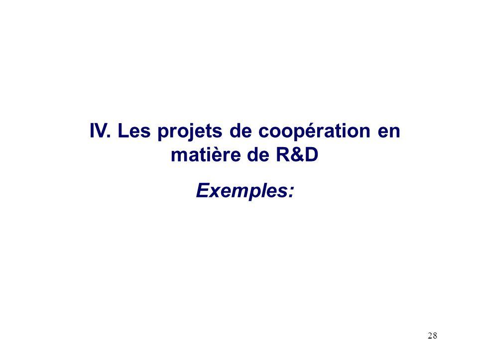 IV. Les projets de coopération en matière de R&D