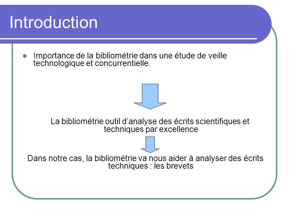 Introduction Importance de la bibliométrie dans une étude de veille technologique et concurrentielle.
