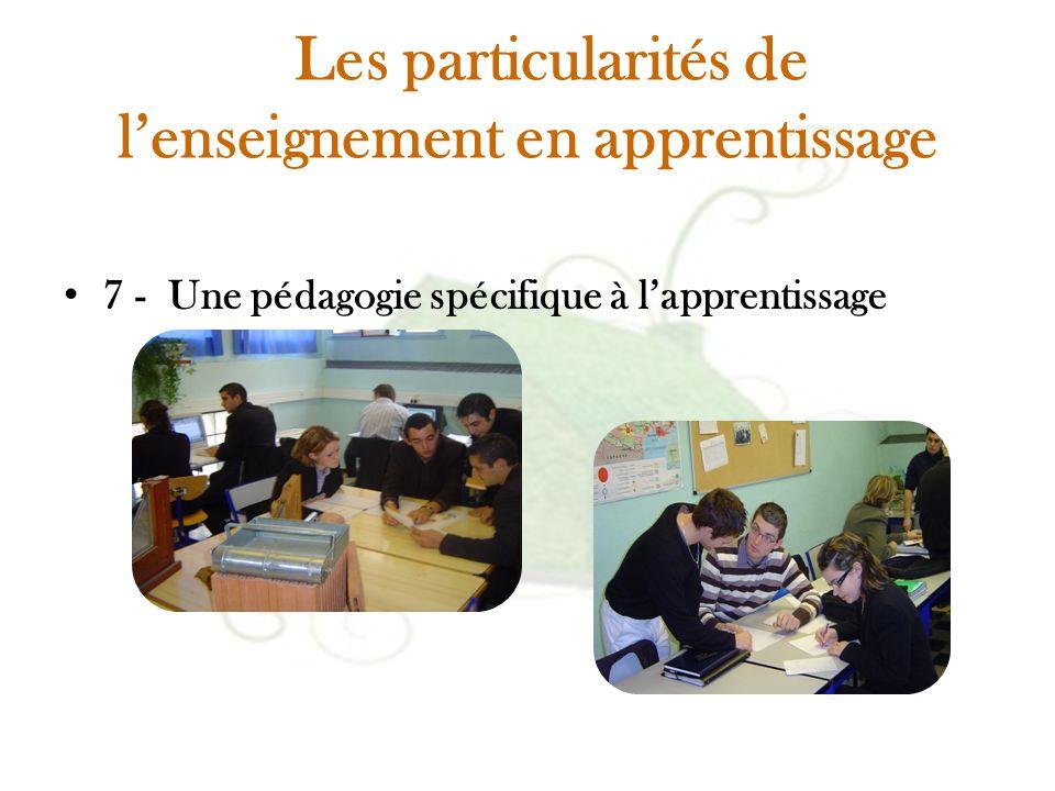 Les particularités de l'enseignement en apprentissage