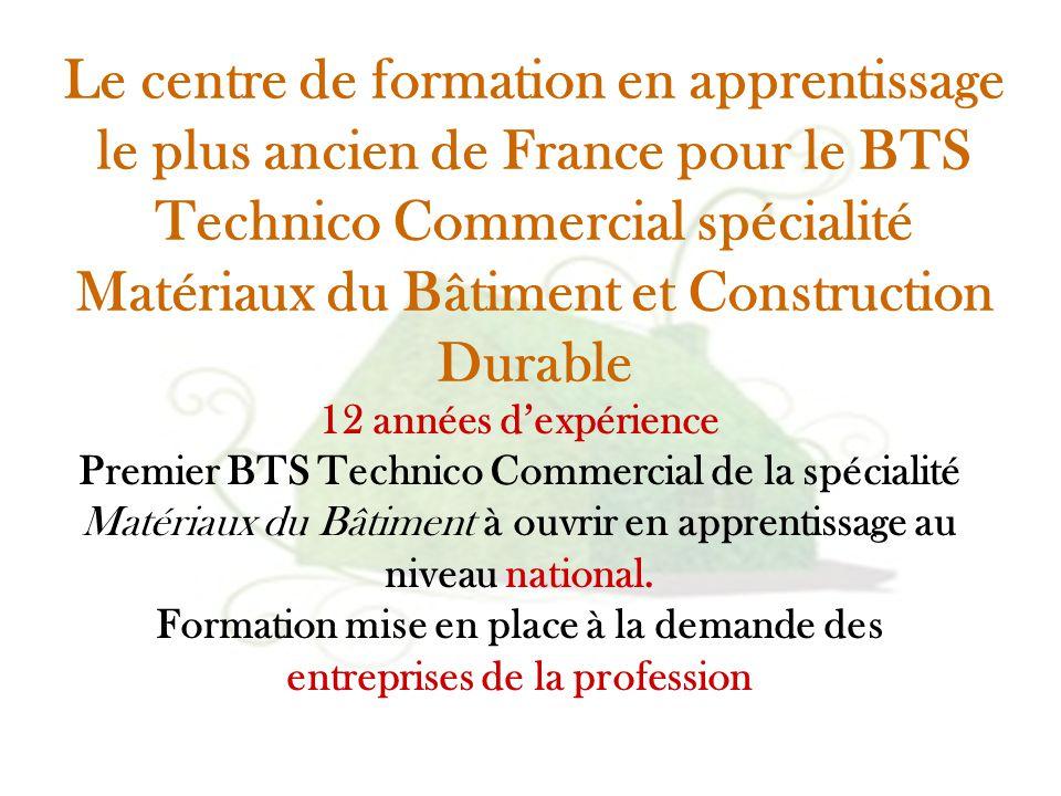 Le centre de formation en apprentissage le plus ancien de France pour le BTS Technico Commercial spécialité Matériaux du Bâtiment et Construction Durable