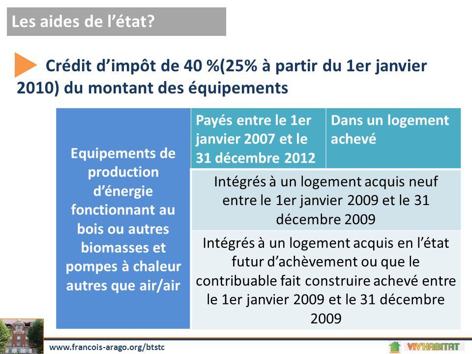 Les aides de l'état Crédit d'impôt de 40 %(25% à partir du 1er janvier 2010) du montant des équipements.