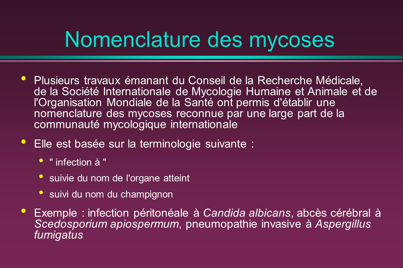 Nomenclature des mycoses