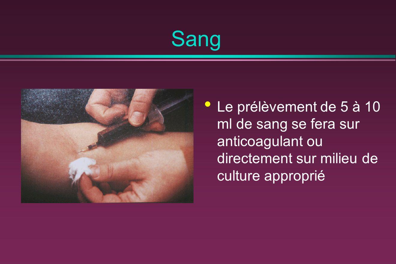 Sang Le prélèvement de 5 à 10 ml de sang se fera sur anticoagulant ou directement sur milieu de culture approprié.