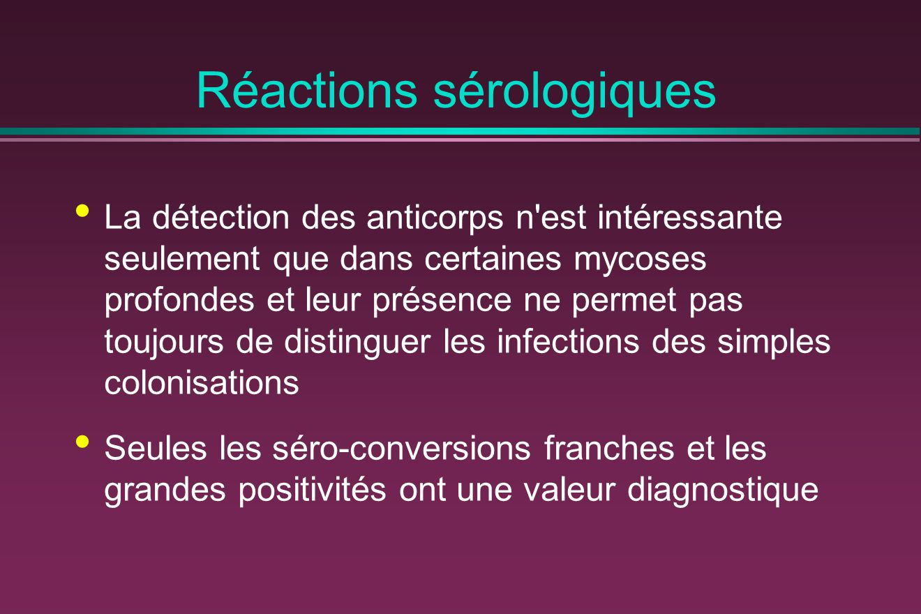 Réactions sérologiques