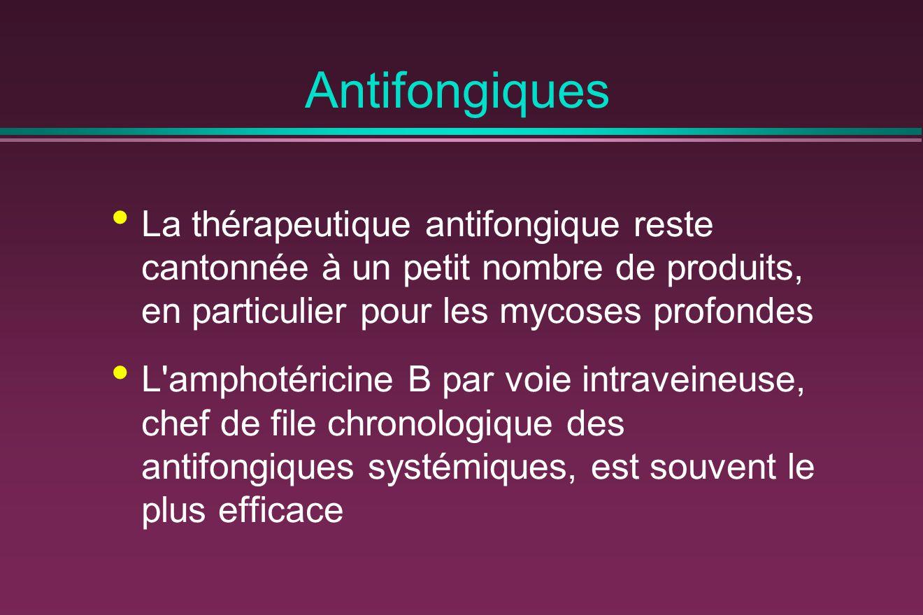 Antifongiques La thérapeutique antifongique reste cantonnée à un petit nombre de produits, en particulier pour les mycoses profondes.