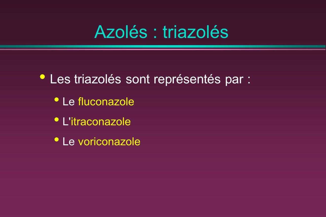 Azolés : triazolés Les triazolés sont représentés par : Le fluconazole