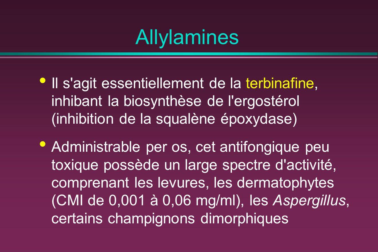 Allylamines Il s agit essentiellement de la terbinafine, inhibant la biosynthèse de l ergostérol (inhibition de la squalène époxydase)