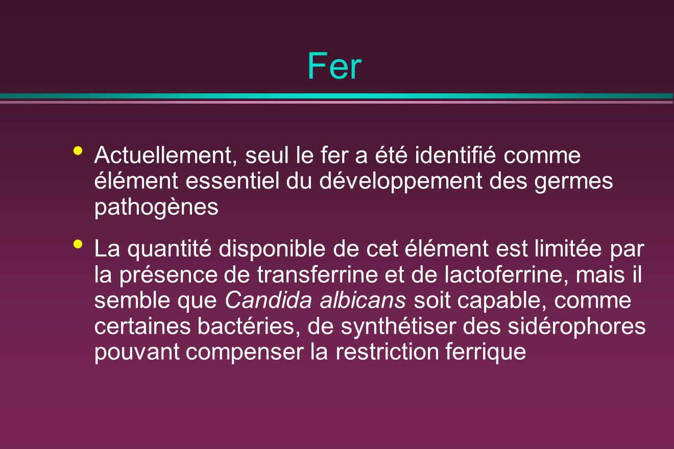 Fer Actuellement, seul le fer a été identifié comme élément essentiel du développement des germes pathogènes.