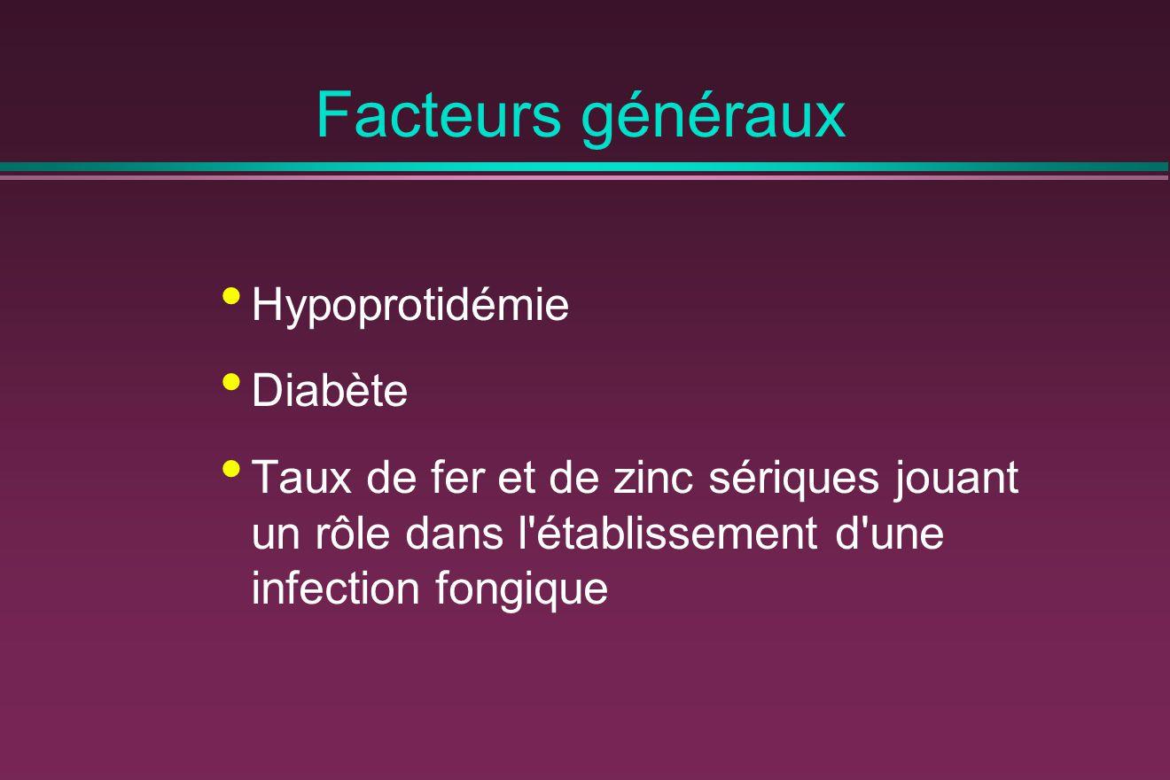 Facteurs généraux Hypoprotidémie Diabète