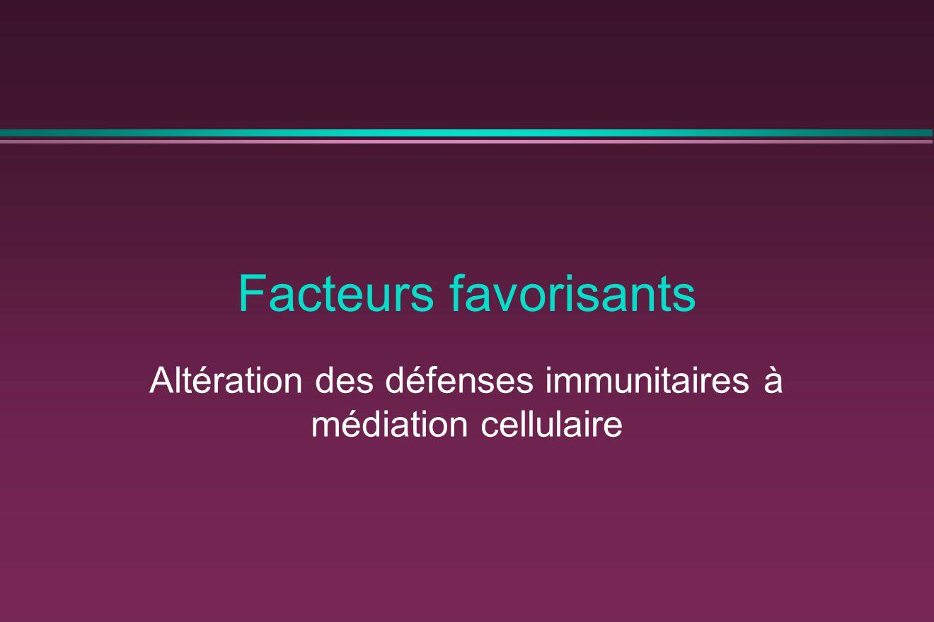 Altération des défenses immunitaires à médiation cellulaire