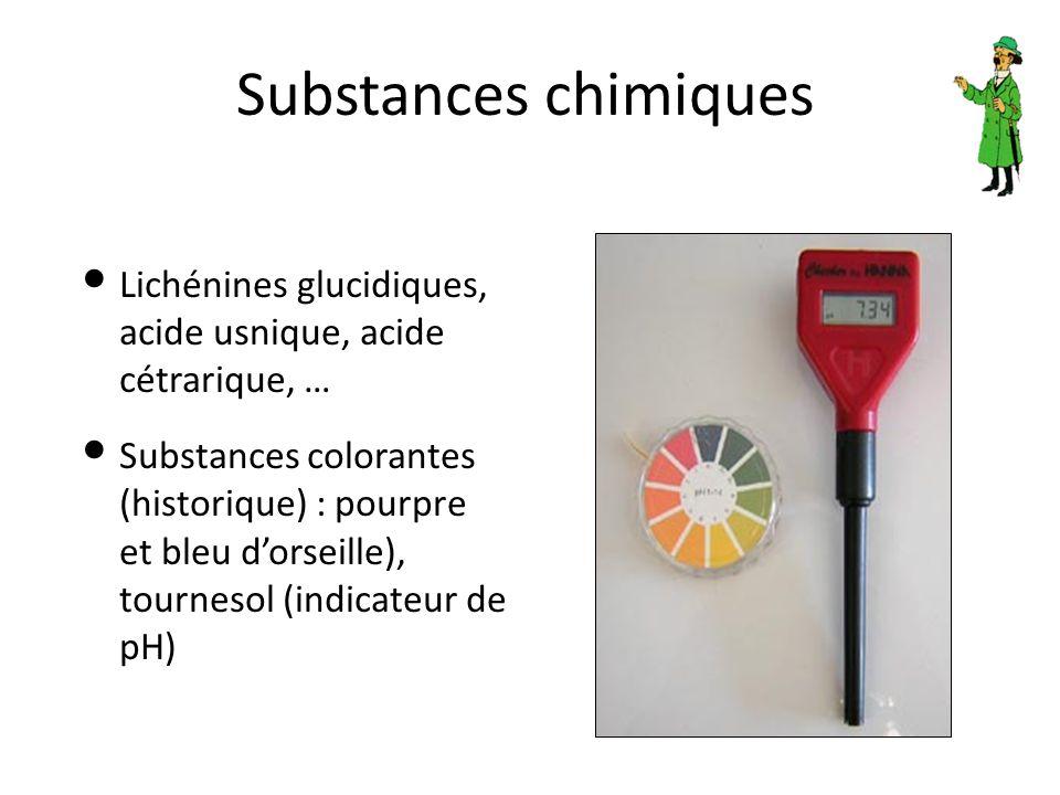 Substances chimiques Lichénines glucidiques, acide usnique, acide cétrarique, …