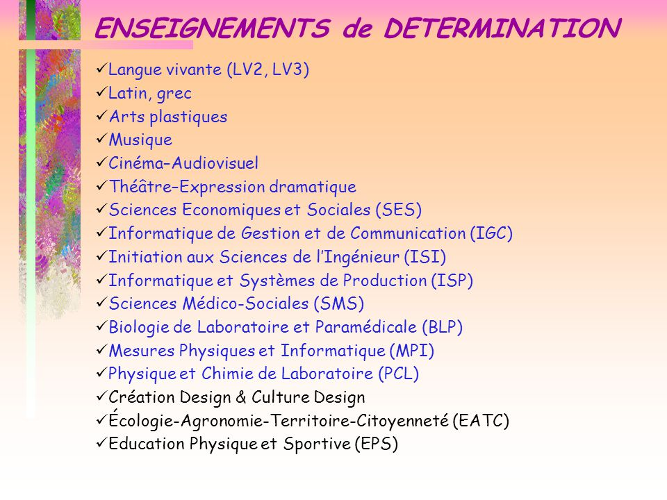 ENSEIGNEMENTS de DETERMINATION