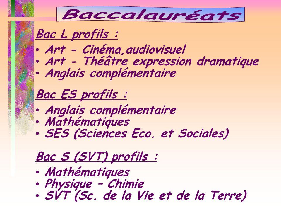 Baccalauréats Bac L profils : Art - Cinéma,audiovisuel