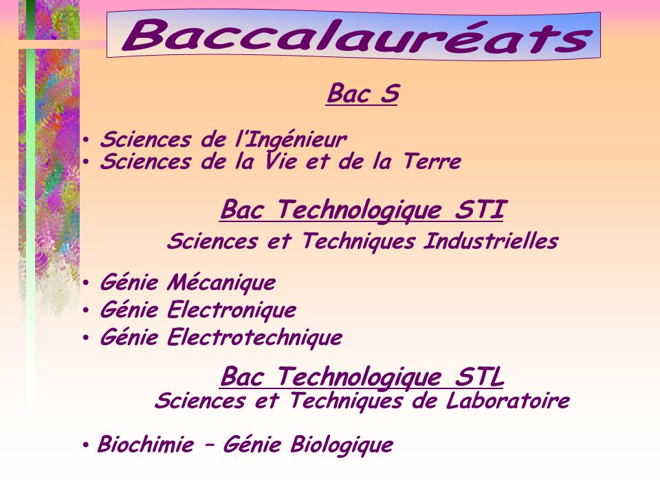 Baccalauréats Bac S Bac Technologique STI Bac Technologique STL
