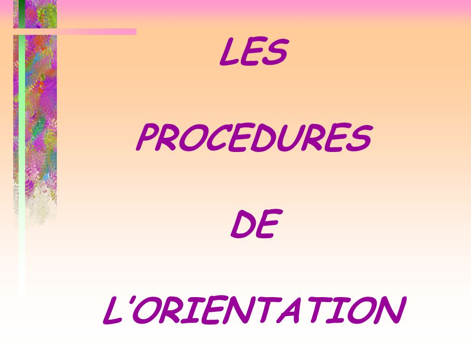 LES PROCEDURES DE L'ORIENTATION