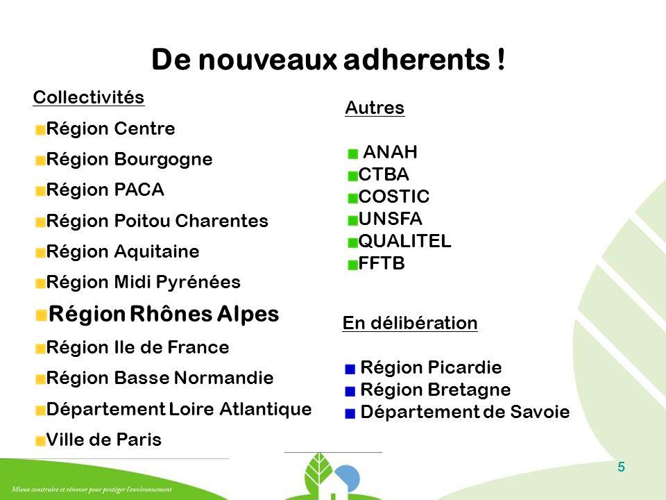 De nouveaux adherents ! Région Rhônes Alpes Collectivités Autres