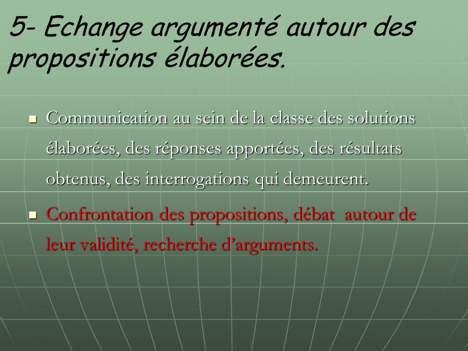 5- Echange argumenté autour des propositions élaborées.