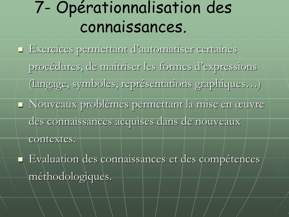 7- Opérationnalisation des connaissances.