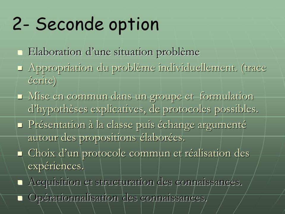 2- Seconde option Elaboration d'une situation problème