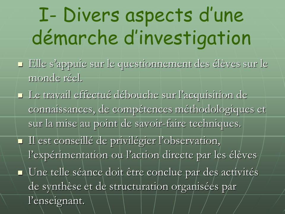 I- Divers aspects d'une démarche d'investigation
