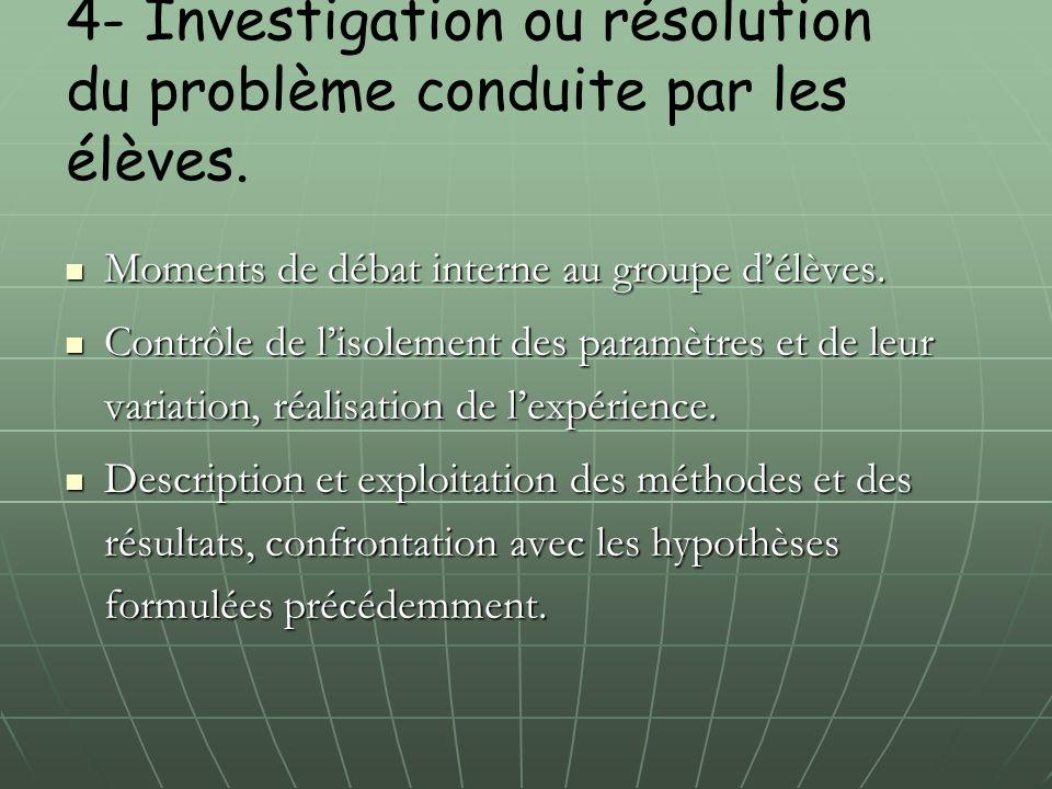 4- Investigation ou résolution du problème conduite par les élèves.
