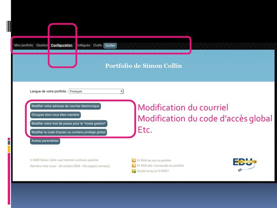 Modification du courriel