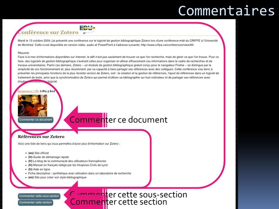Commentaires Commenter ce document Commenter cette sous-section