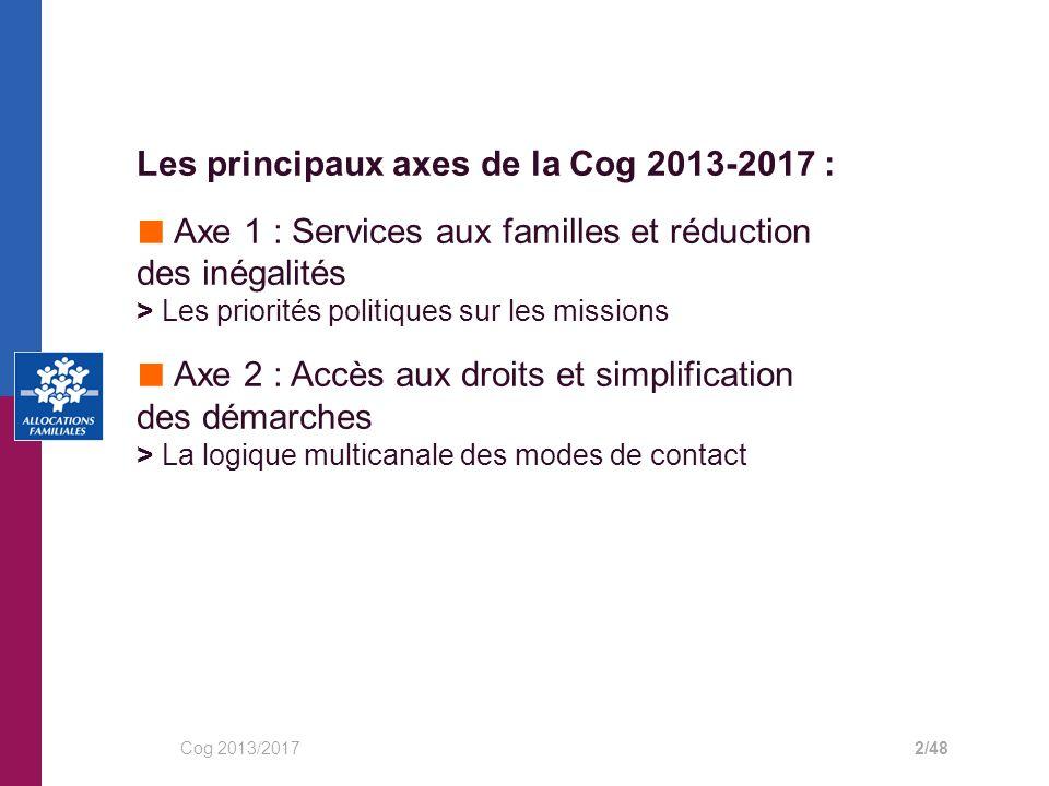 Les principaux axes de la Cog 2013-2017 :