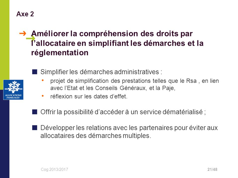 Axe 2 ➔ Améliorer la compréhension des droits par l'allocataire en simplifiant les démarches et la réglementation.