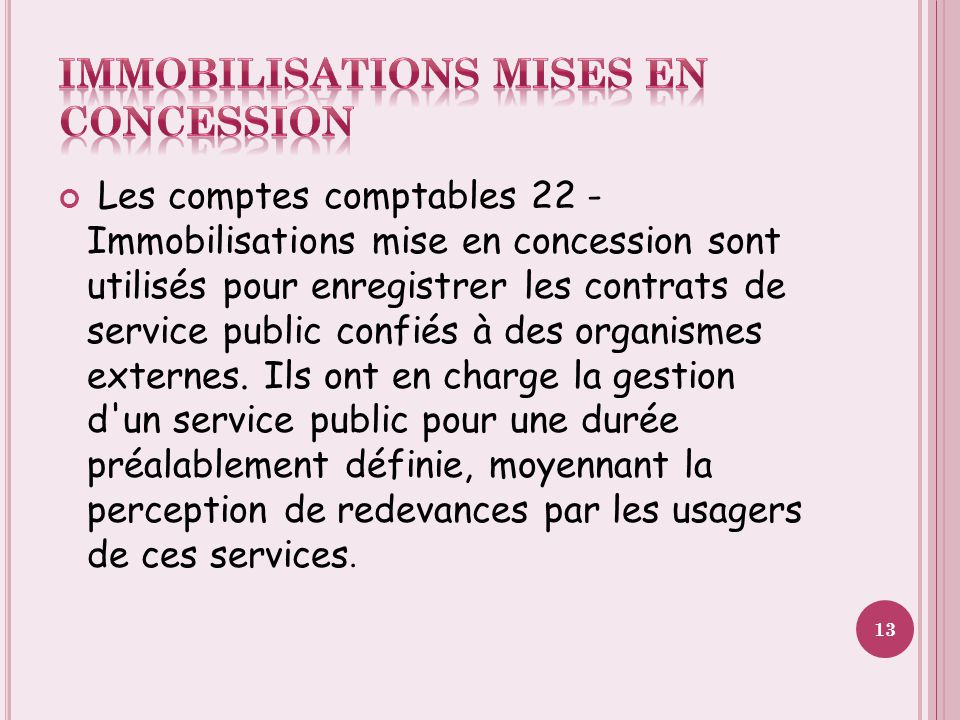 Immobilisations mises en concession
