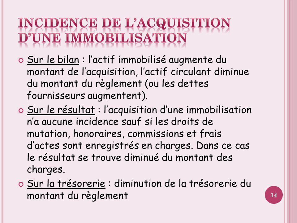Incidence de l'acquisition d'une immobilisation