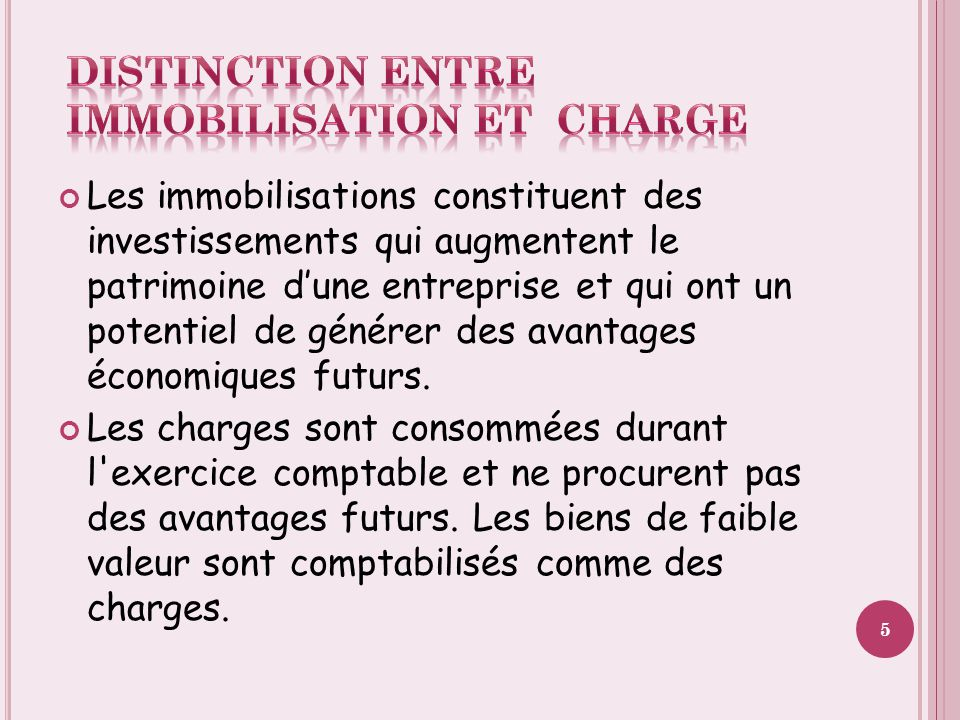DISTINCTION ENTRE IMMOBILISATION ET CHARGE