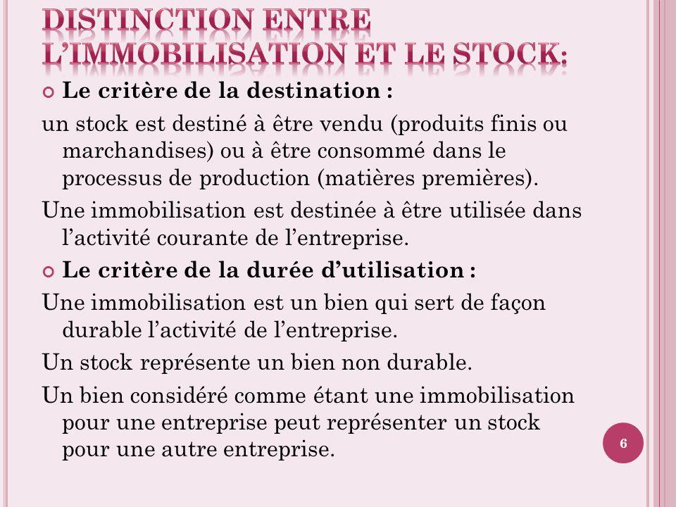 Distinction entre l'immobilisation et le stock: