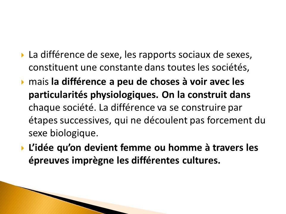 La différence de sexe, les rapports sociaux de sexes, constituent une constante dans toutes les sociétés,