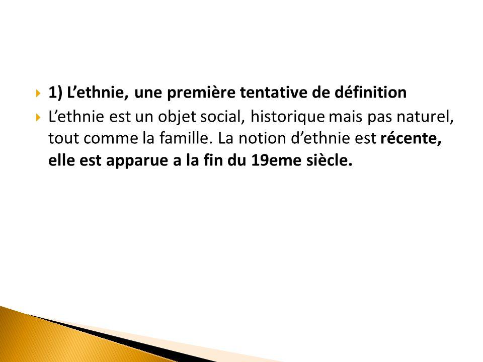 1) L'ethnie, une première tentative de définition