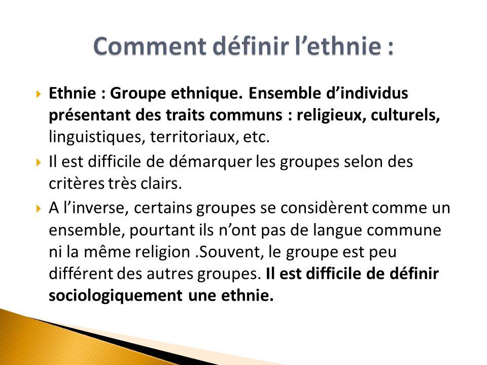Comment définir l'ethnie :