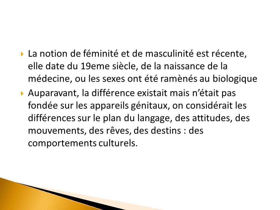 La notion de féminité et de masculinité est récente, elle date du 19eme siècle, de la naissance de la médecine, ou les sexes ont été ramènés au biologique