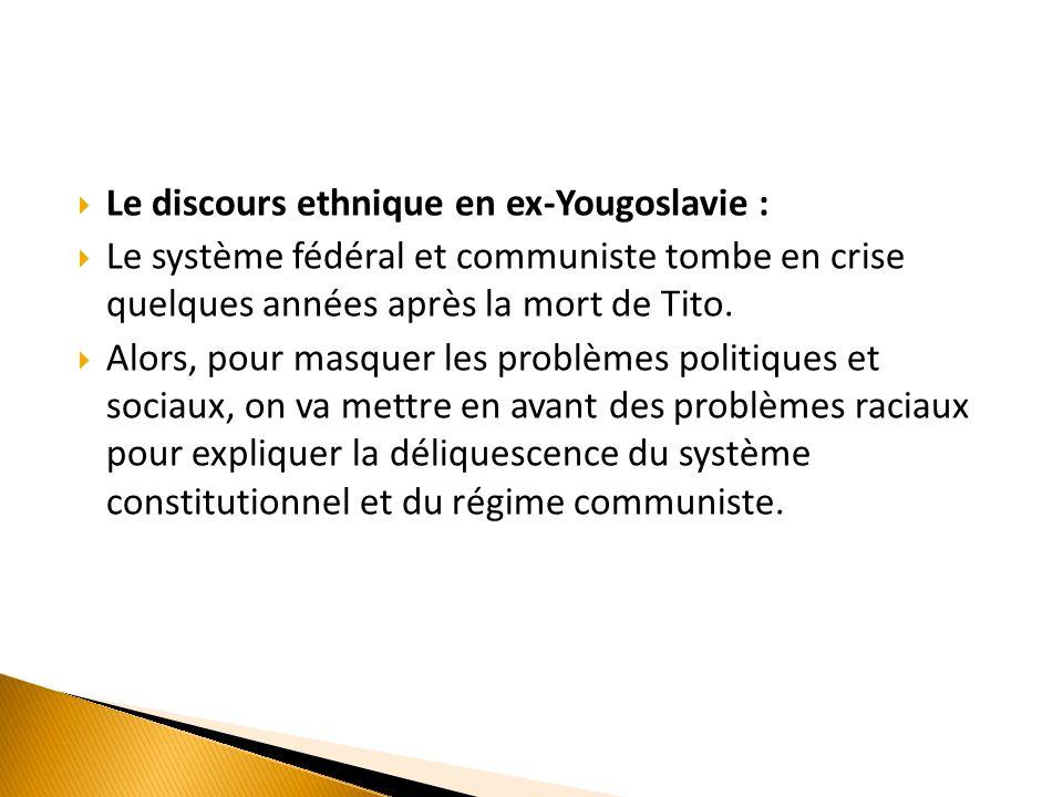 Le discours ethnique en ex-Yougoslavie :