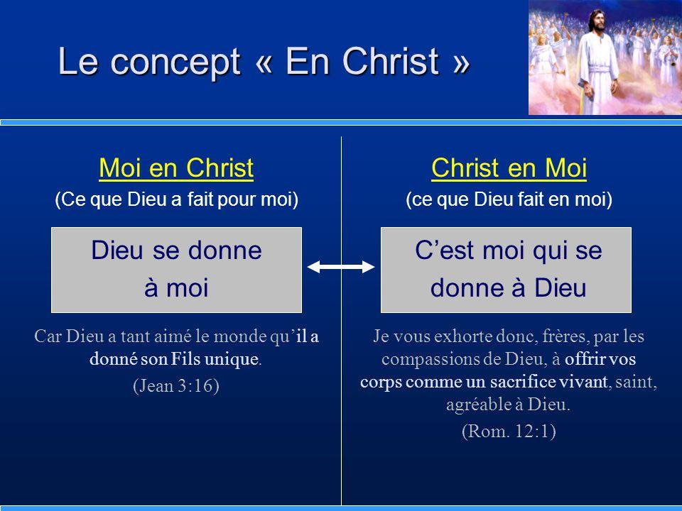 Le concept « En Christ » Moi en Christ Dieu se donne à moi
