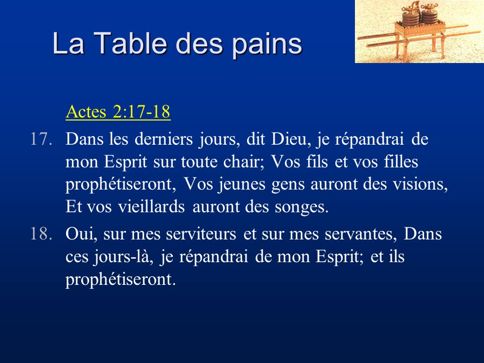 La Table des pains Actes 2:17-18