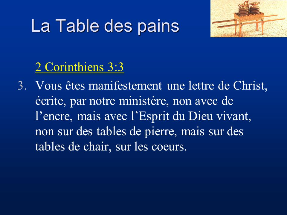 La Table des pains 2 Corinthiens 3:3
